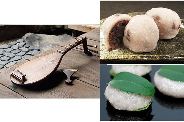 琵琶の弾き語りと源氏物語ゆかりの餅菓子づくり